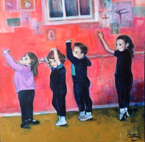 "Mademoiselle Huguette's Dance Class. 40"" x 40"", acrylic on canvas."
