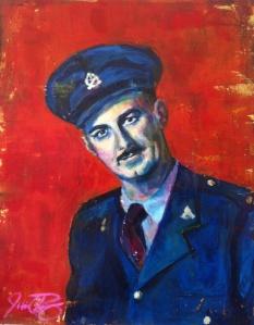 """Herménégilde n'aimait pas parler de la guerre, 20"""" x 16"""", acrylic on canvas"""