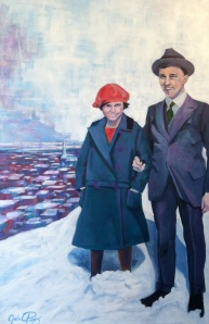 """Ruth and George were inseparable. 60"""" x 40"""", acrylic on canvas. SOLD"""