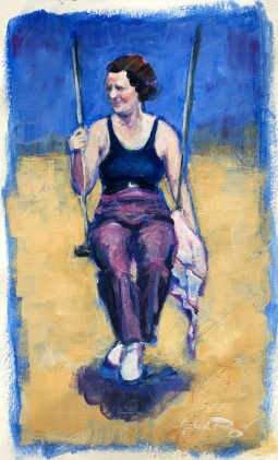"Julia C Pomeroy - Beach swing II, 9"" x 5"", acrylic on paper, AVAILABLE"