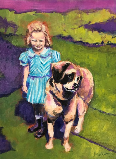 "Julia C Pomeroy - Little Bev with Big Dog, 14.5"" x 10.5"", acrylic on paper, SOLD"