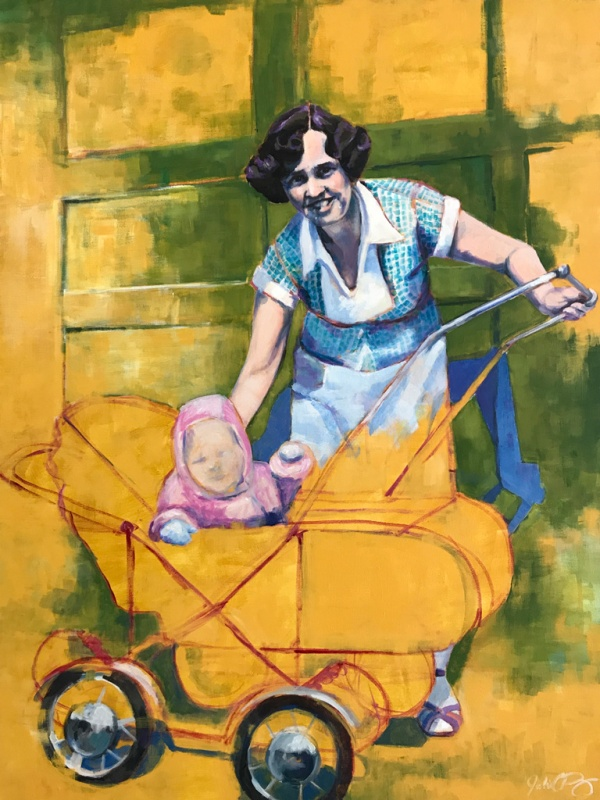 "Julia C Pomeroy - Smile, 40"" x 30"", acrylic on canvas, SOLD"