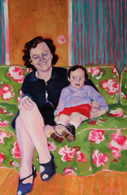 "Julia C Pomeroy - Swallowed by the Sofa, 36"" x 24"", acrylic on canvas. AVAILABLE."