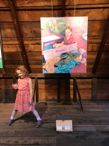 Julia C. Pomeroy - My daughter with the painting of her, The Room was clean five minutes go.